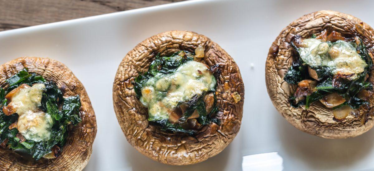 Pečené huby plnené špenátom a syrom