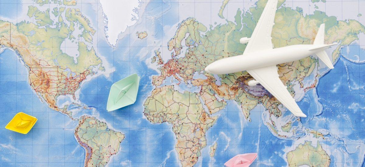 Mapa sveta, lietadlo