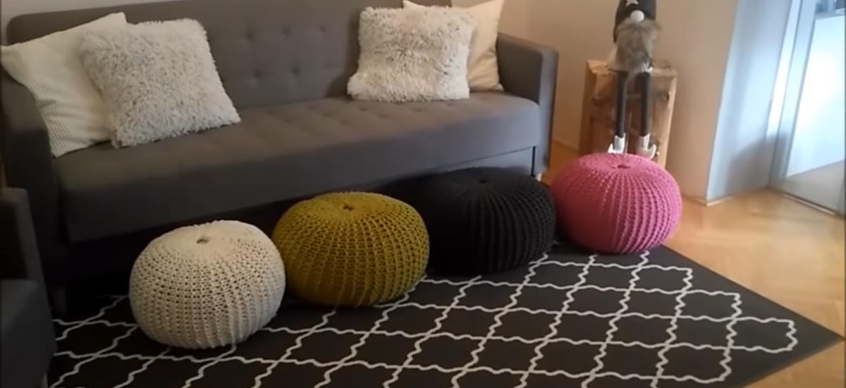 Domáce pletené taburetky
