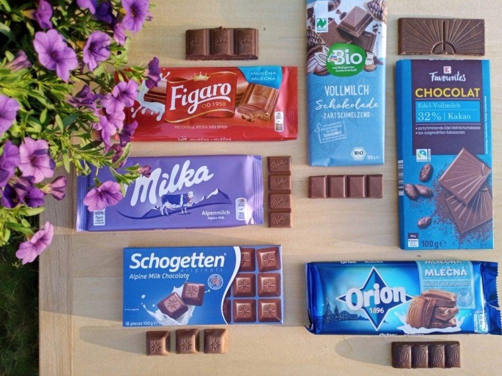 test mliečnych čokolád