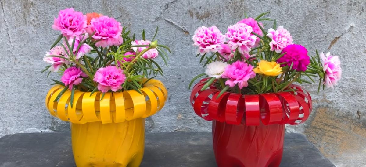 kvetináče z pet fliaš