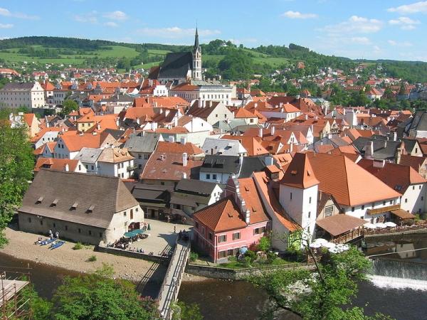 Pohľad na Český Krumlov zo zámku
